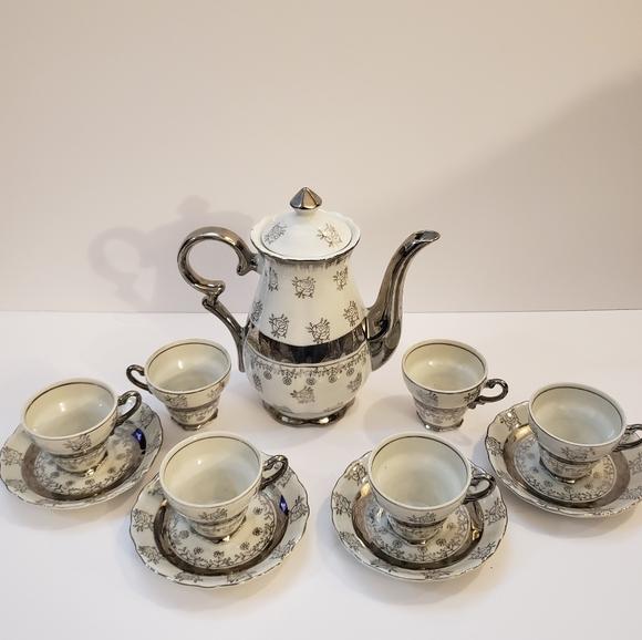 Sterling China Tea Set White Silver Floral Vintage